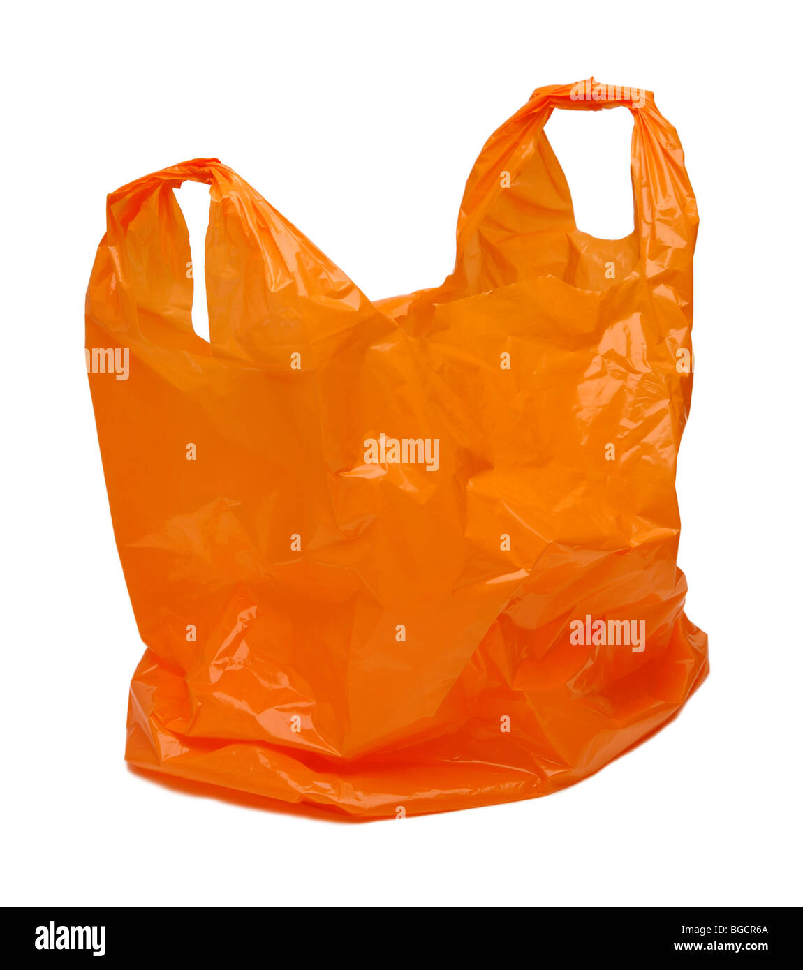 Orange plastic bag - Stock Image