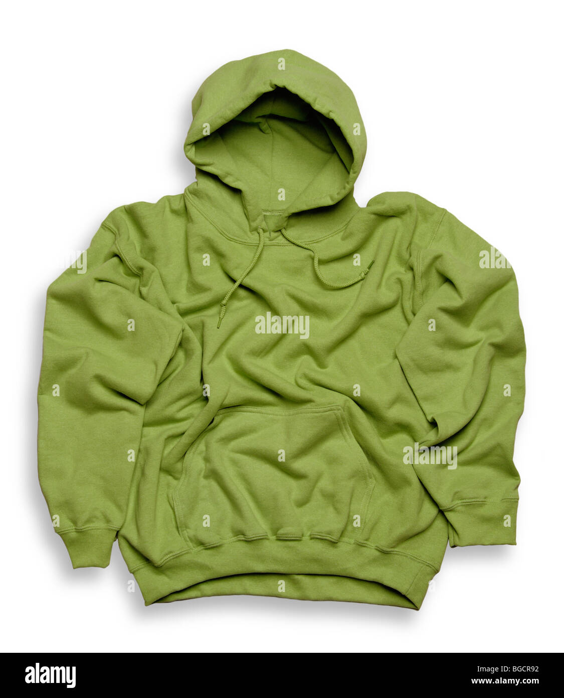 Green hooded top - Stock Image
