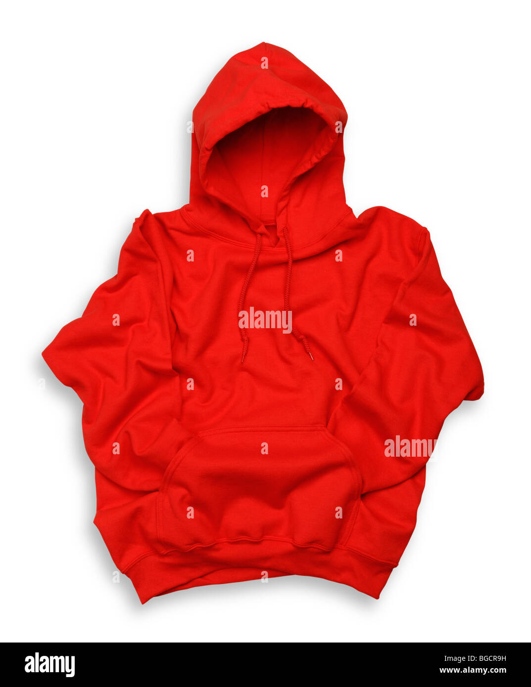 Red hooded top - Stock Image