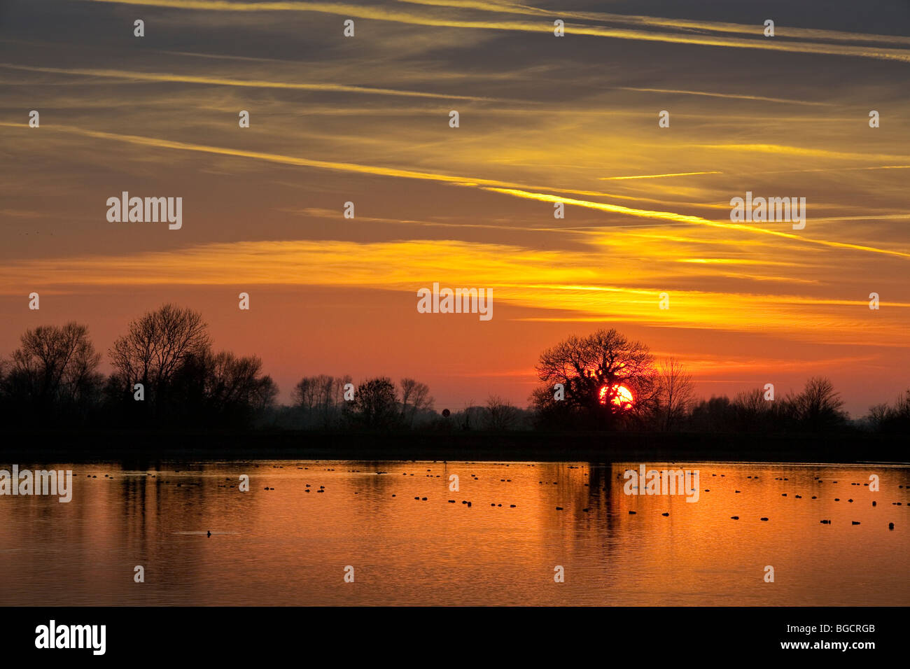 Sun sets over Startop Reservoir,richly coloured sky,trees in silhouette,warm glow reflected off calm water - Stock Image