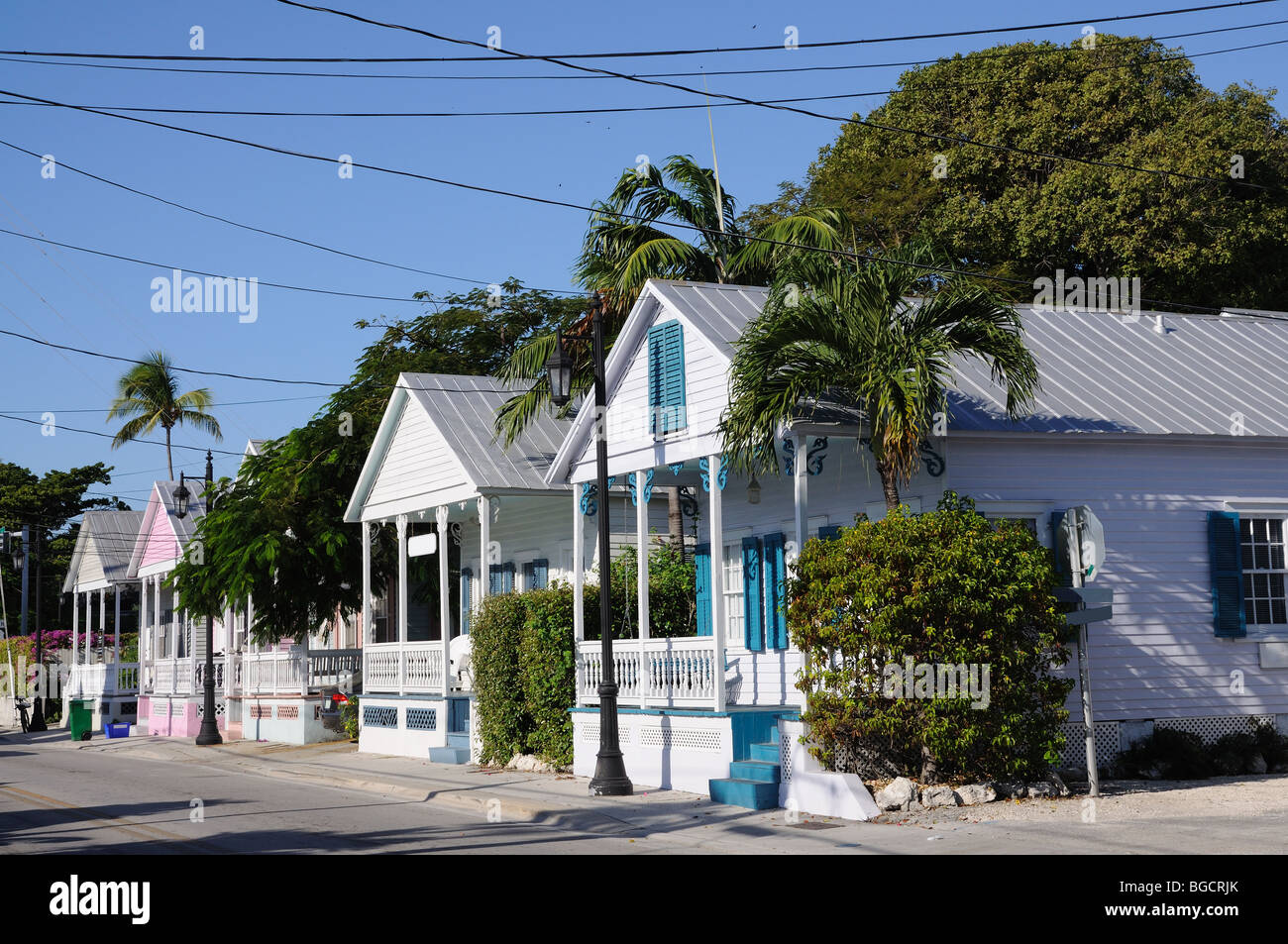 Traditional Wooden Houses at Key West, Florida USA - Stock Image