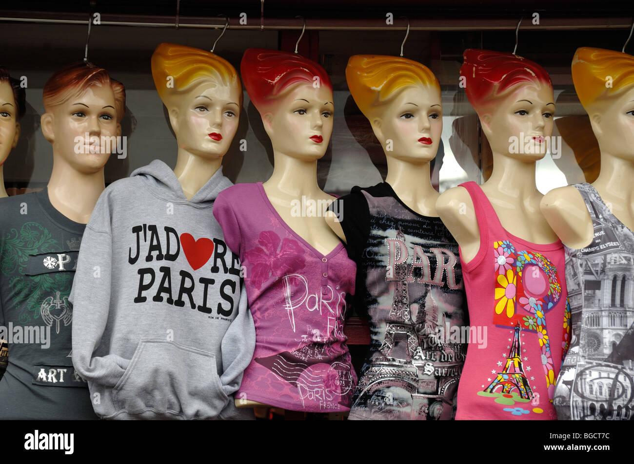 I Love Paris T-Shirts Fashion, Souvenir Tee Shirts on Mannequins in Tourist Shop, Paris, France - Stock Image