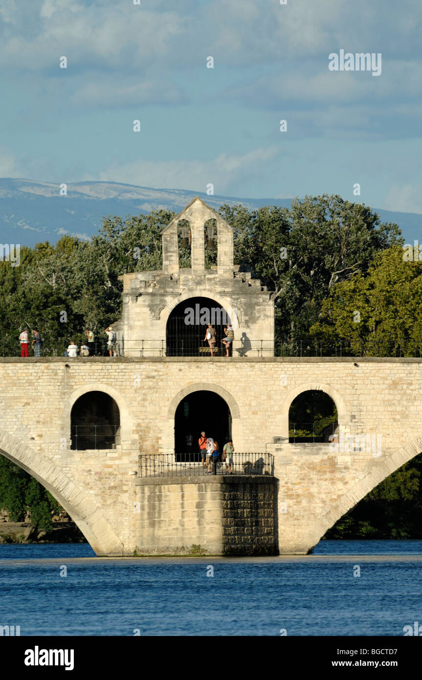 Saint Nicolas Chapel on Le Pont d'Avignon or Saint Bénézet Bridge over River Rhône, Provence, - Stock Image