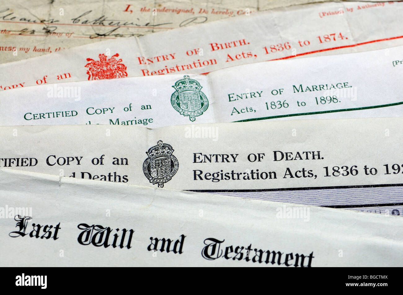 Genealogy documents - Certificates of birth, marriage and death and last will and testament - Stock Image