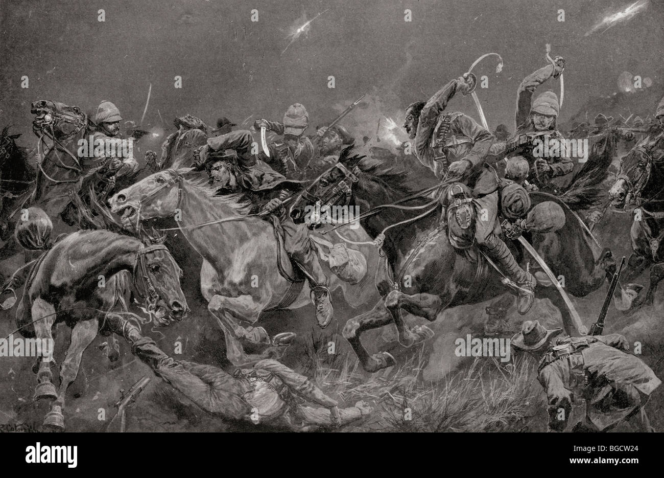 The night charge of the 19th Royal Hussars near Lydenberg, Mpumalanga , South Africa on November 7th 1900 during - Stock Image
