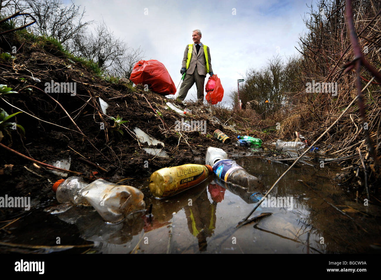 Stan Stone from Lower Apperley Gloucestershire UK who voluntarily collects litter in the area Stock Photo