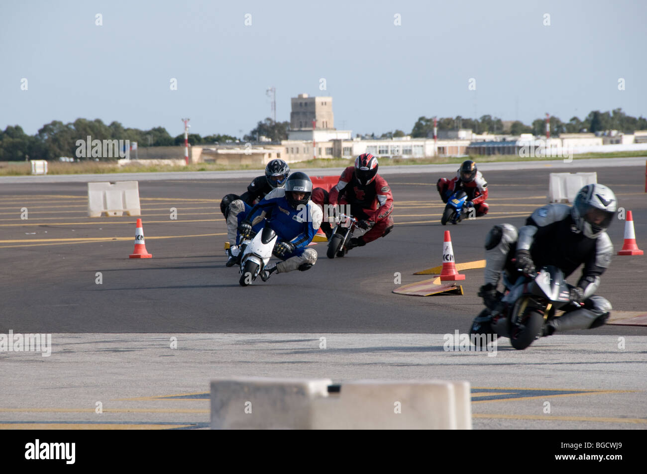 Beautiful Mini Motor Bikes Race Around A Temporary Circuit Built On Luqa Airport For  A Charity Motor