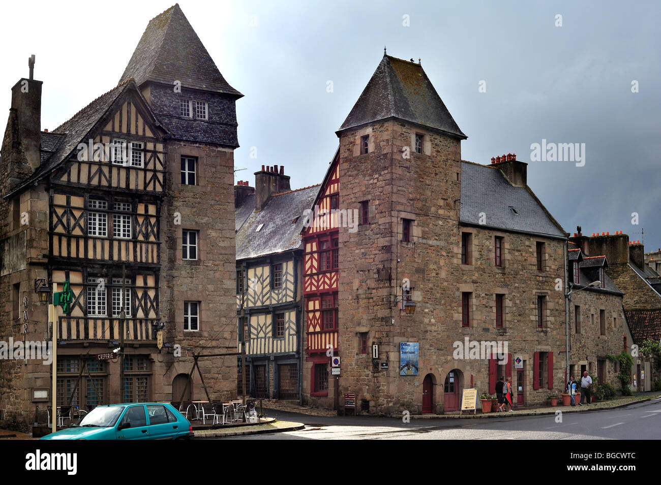 Colourful half-timbered houses at Tréguier, Côtes-d'Armor, Brittany, France - Stock Image