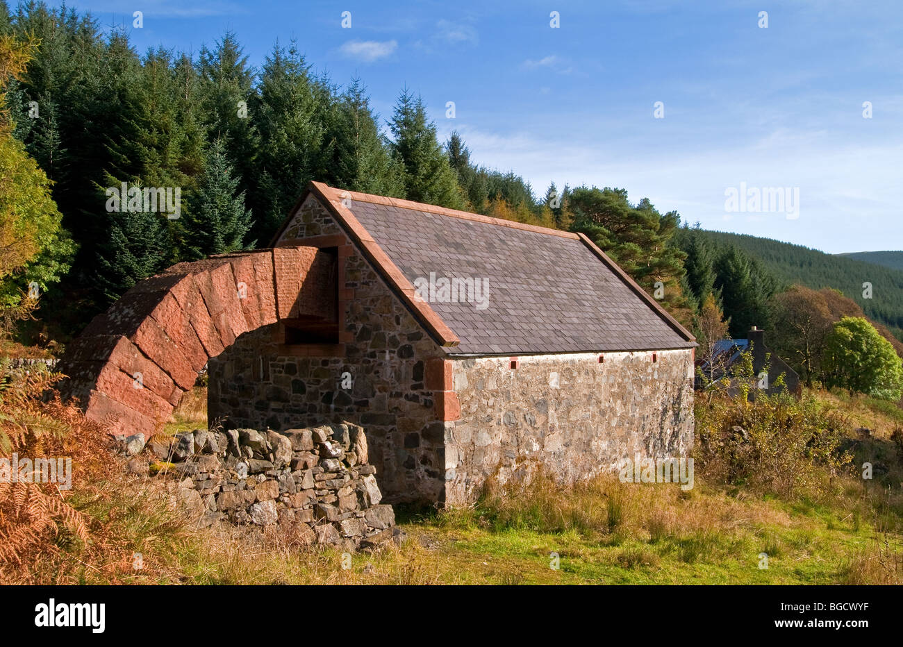 The Byre, Striding Arches Art Project, Cairnhead, Nithsdale, Dumfries and Galloway, Scotland - Stock Image