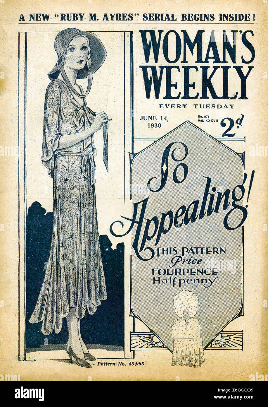 Womens Weekly, 14 June, 1930 cover of the womens lifestyle and fashion magazine featuring dress paterns - Stock Image