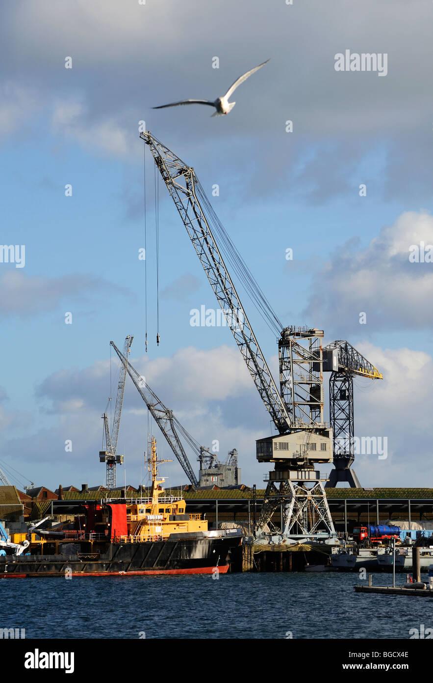 cranes at falmouth docks, cornwall, uk - Stock Image