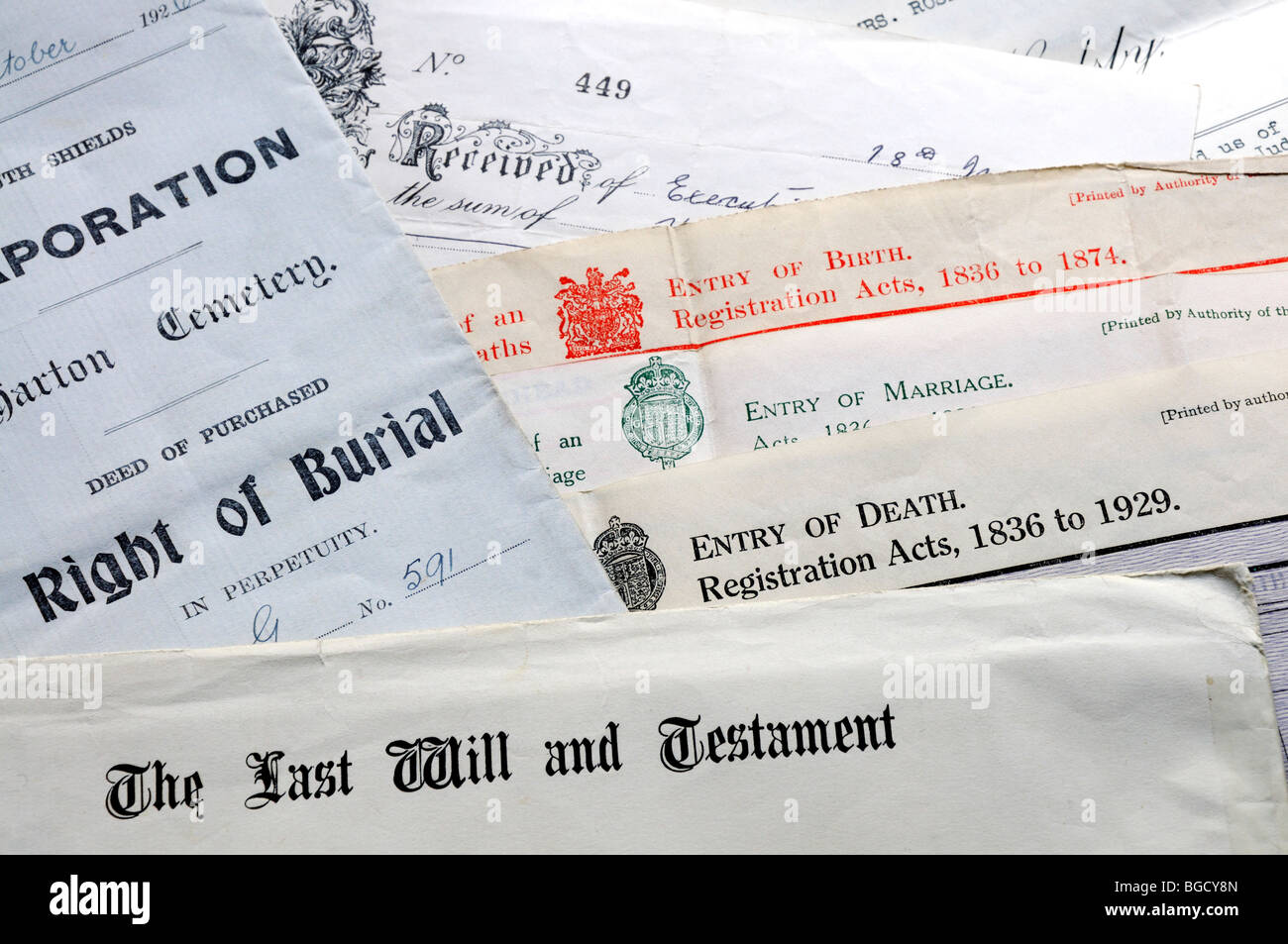 Genealogy documents - Certificates of birth, marriage and death, right of burial and last will and testament - Stock Image