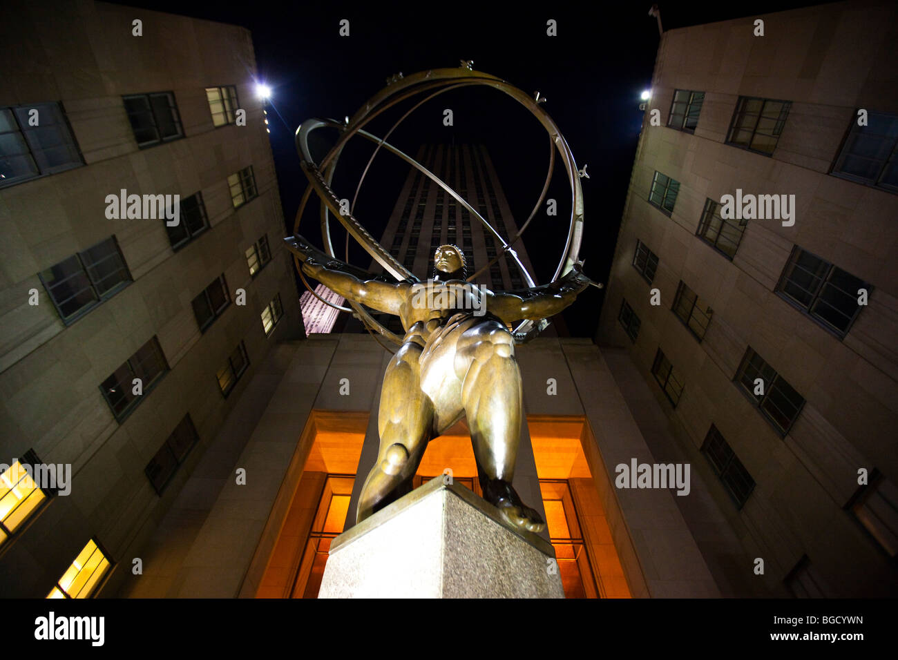 Atlas Statue at Rockefeller Center in New York City - Stock Image