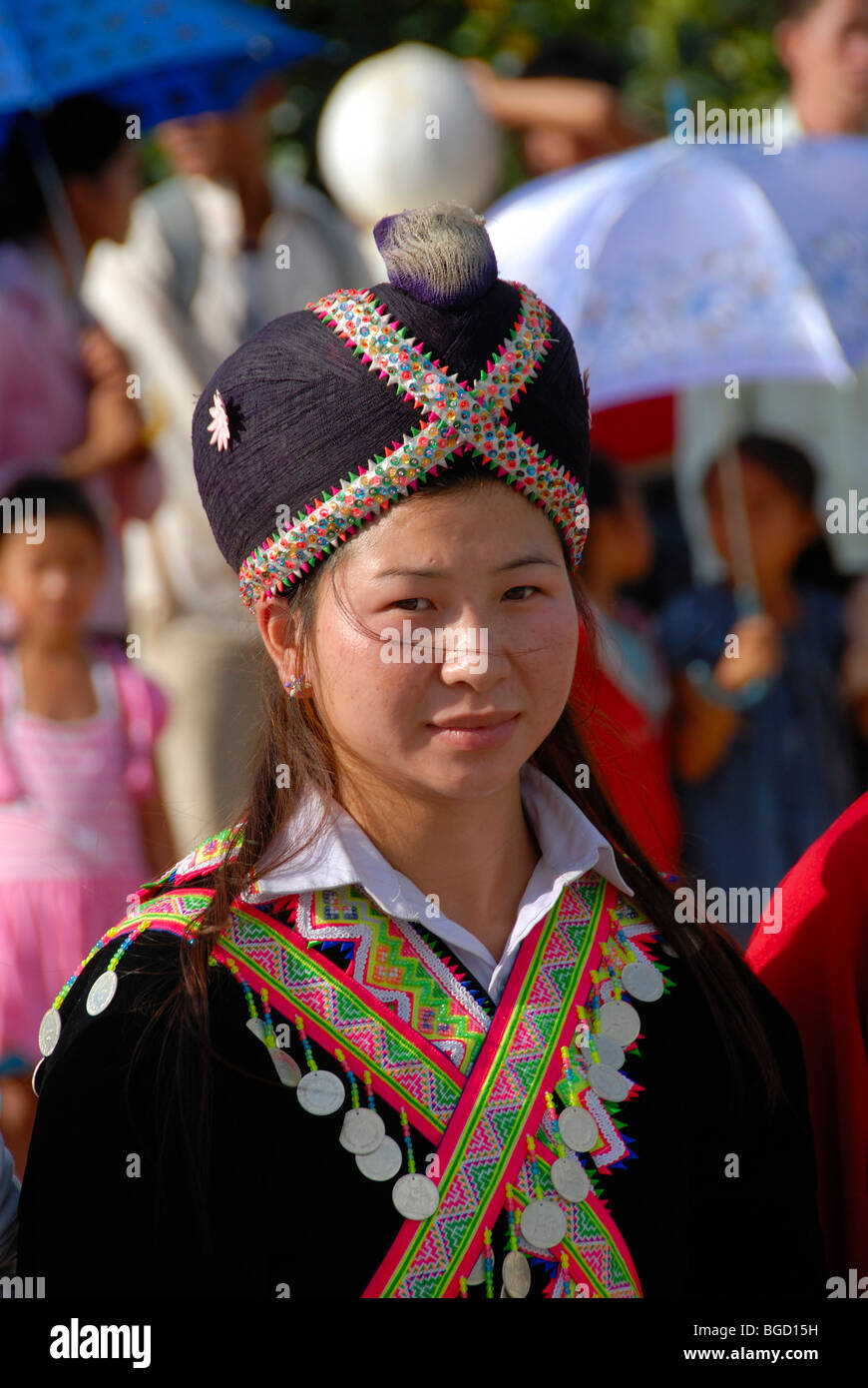 Festival, young Hmong woman, portrait, dressed in traditional clothing, headgear, Xam Neua, Houaphan province, Laos, - Stock Image