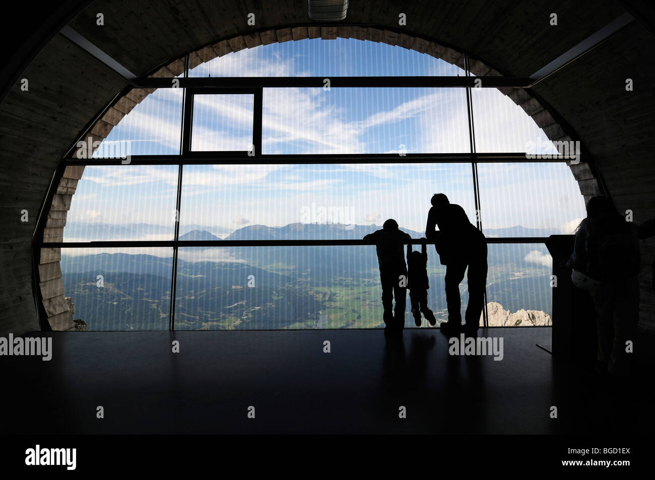 Museum Bergwelt Karwendel, visitors, telescope, Mittenwald, Karwendelgebirge mountains, Innsbruck, Tyrol, Austria, Stock Photo