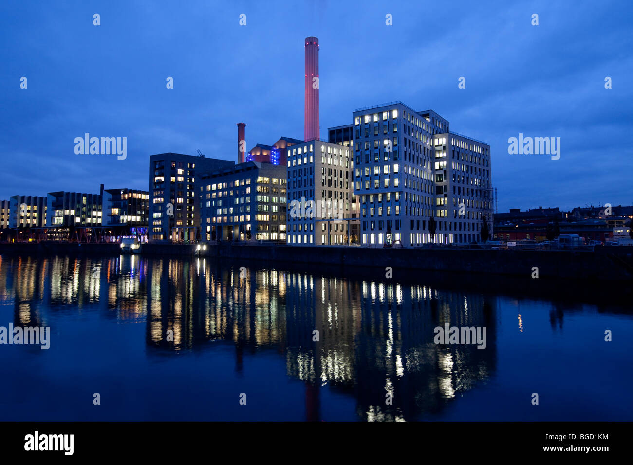 Industrial building, heating plant in the Westhafen harbor, Frankfurt am Main, Hesse, Germany, Europe - Stock Image