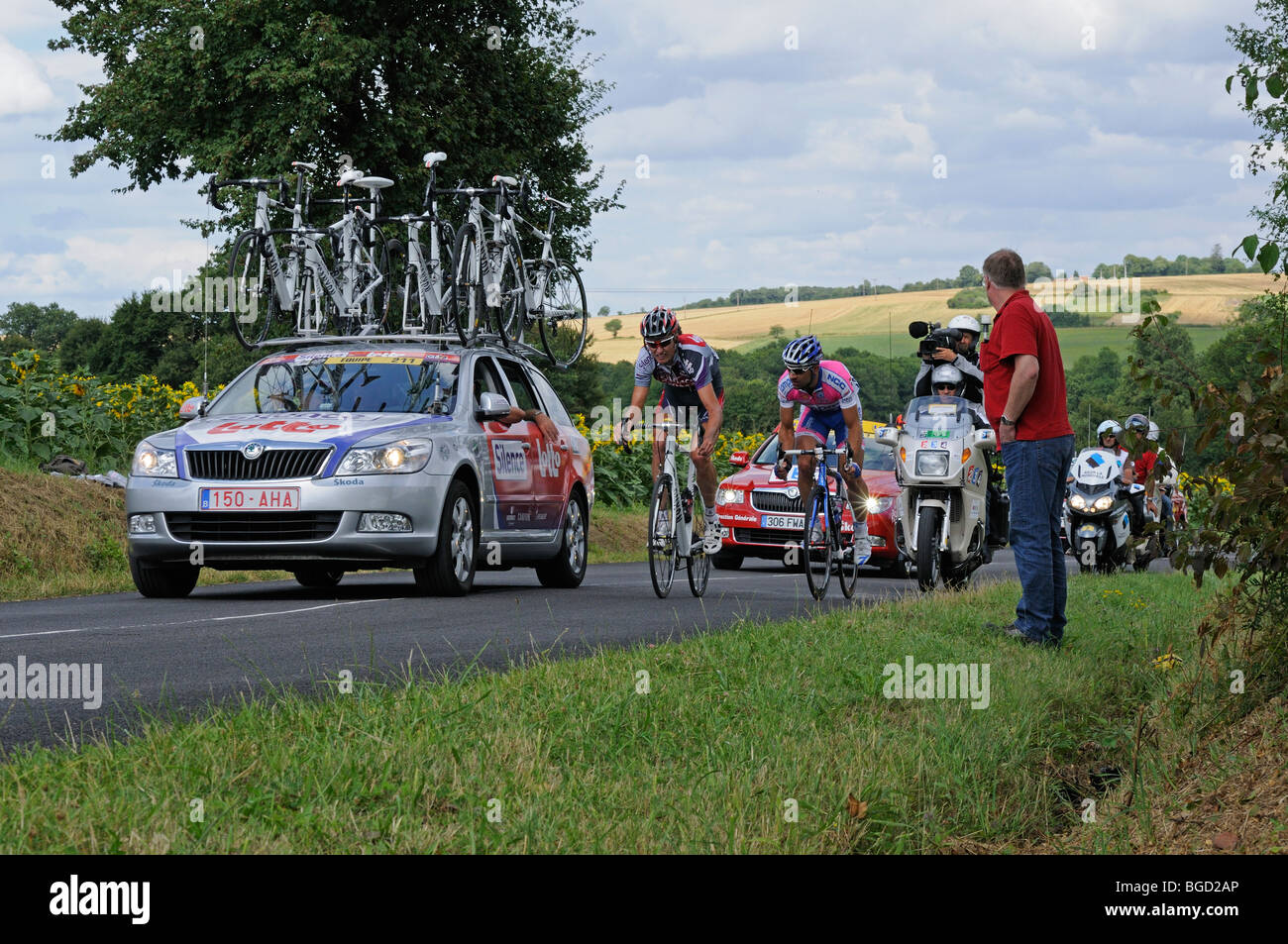 Johan van Summeren and Marcin Sapa leading in a stage of the 2009 Tour de France near Ratilly in the Yonne (89) - Stock Image