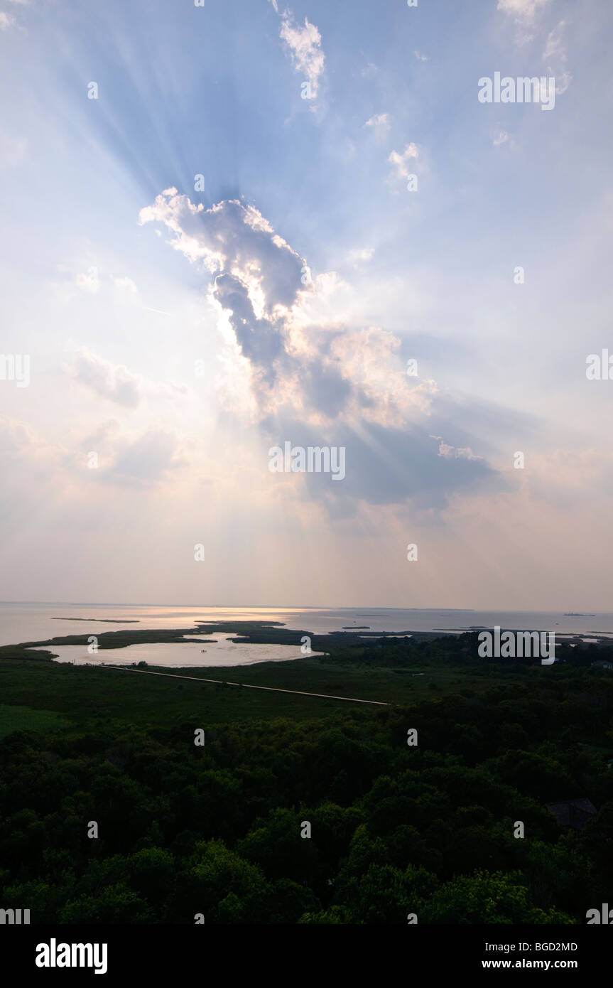 View of the Currituck sound located on the Outer Banks in Corolla, North Carolina. - Stock Image