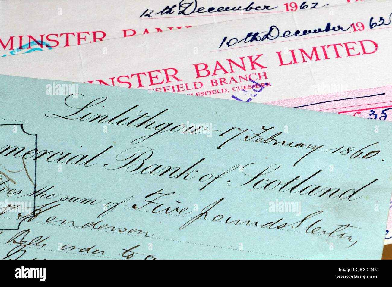 Cheques from 1962 and 1860 - Stock Image