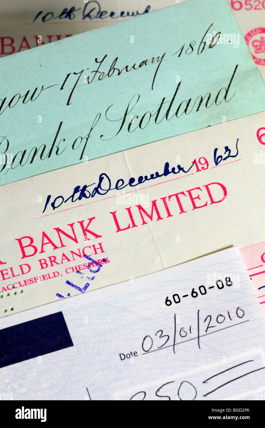 Cheques from 1860, 1962 and 2010 - Stock Image