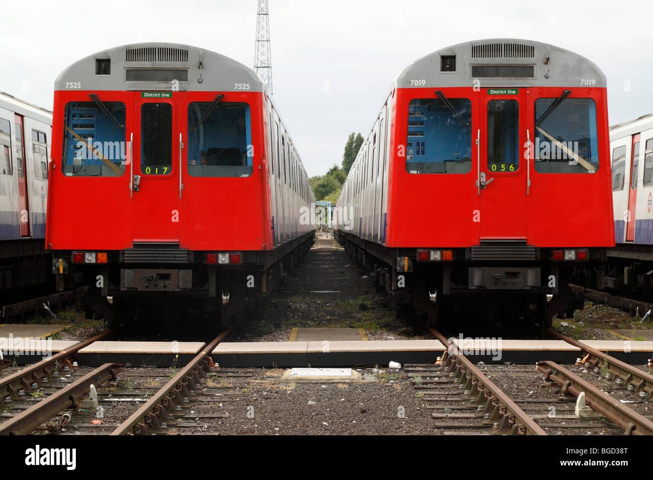 Stabling sidings at the end of the District Line of London Underground, showing D stock - Stock Image