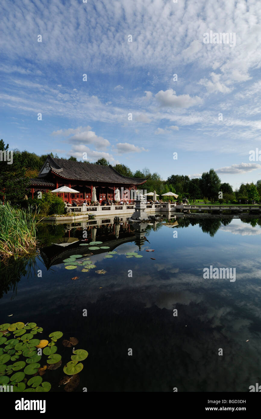 Berlin. Germany. Chinese Pavilion and Tea Room at the Gardens of the World (Garten der Welt) Recreation Park in - Stock Image