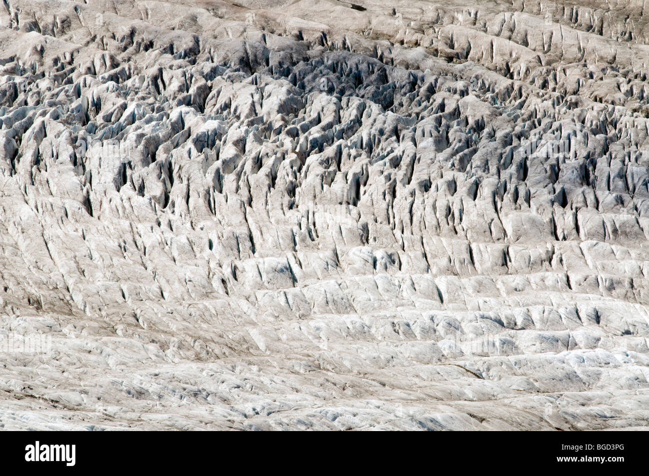 Glacial structures, Aletsch Glacier, Bernese Alps, Valais, Switzerland, Europe - Stock Image