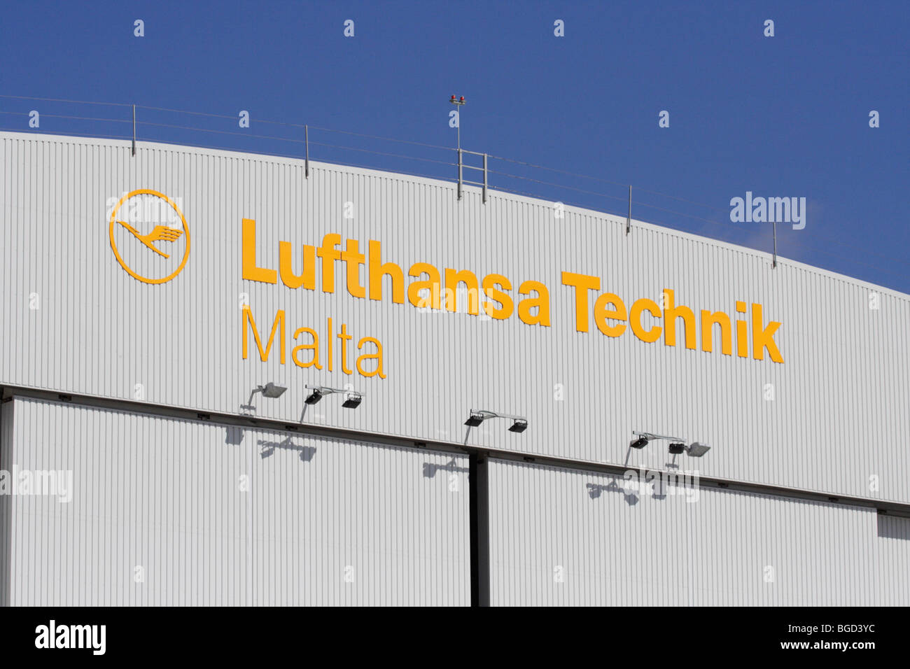 Detail from the Lufthansa Technik Malta hangars at Malta International Airport. Editorial use only. - Stock Image