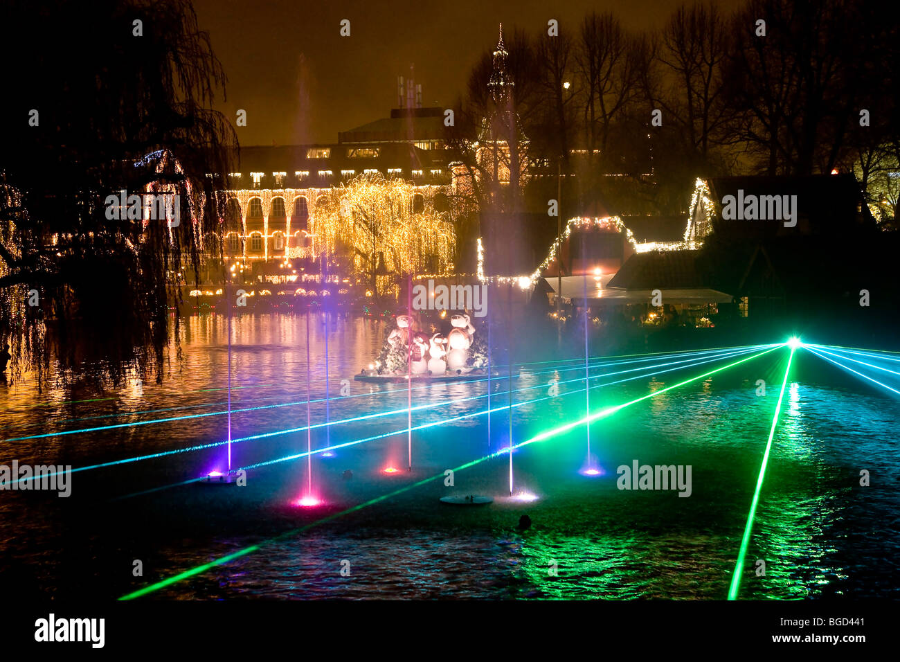 Illumination show at the Tivoli Lake in Copenhagen, Denmark, Europe - Stock Image