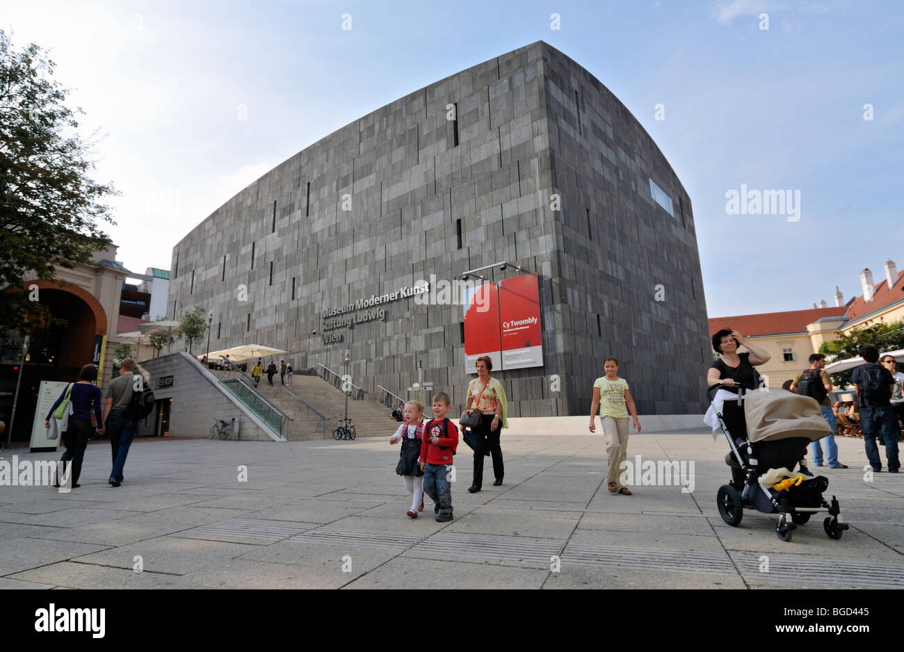 Family in front of MUMOK (Museum Moderner Kunst or Museum of Modern Art) Building at MuseumsQuartier in Vienna (Wien), - Stock Image