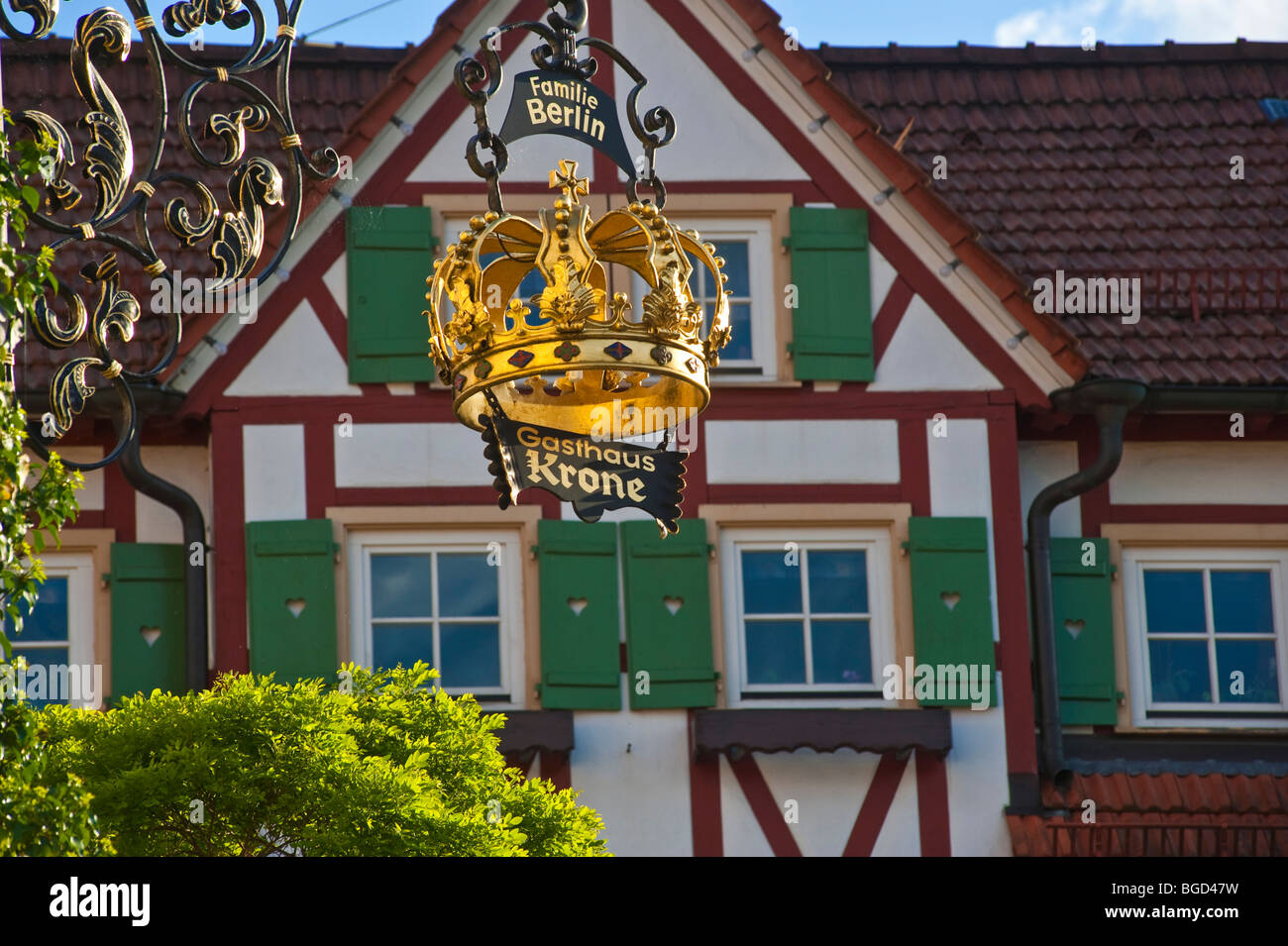 Hanging sign of a tavern, Bad Teinach Zavelstein, Black Forest, Baden-Wuerttemberg, Germany, Europe - Stock Image