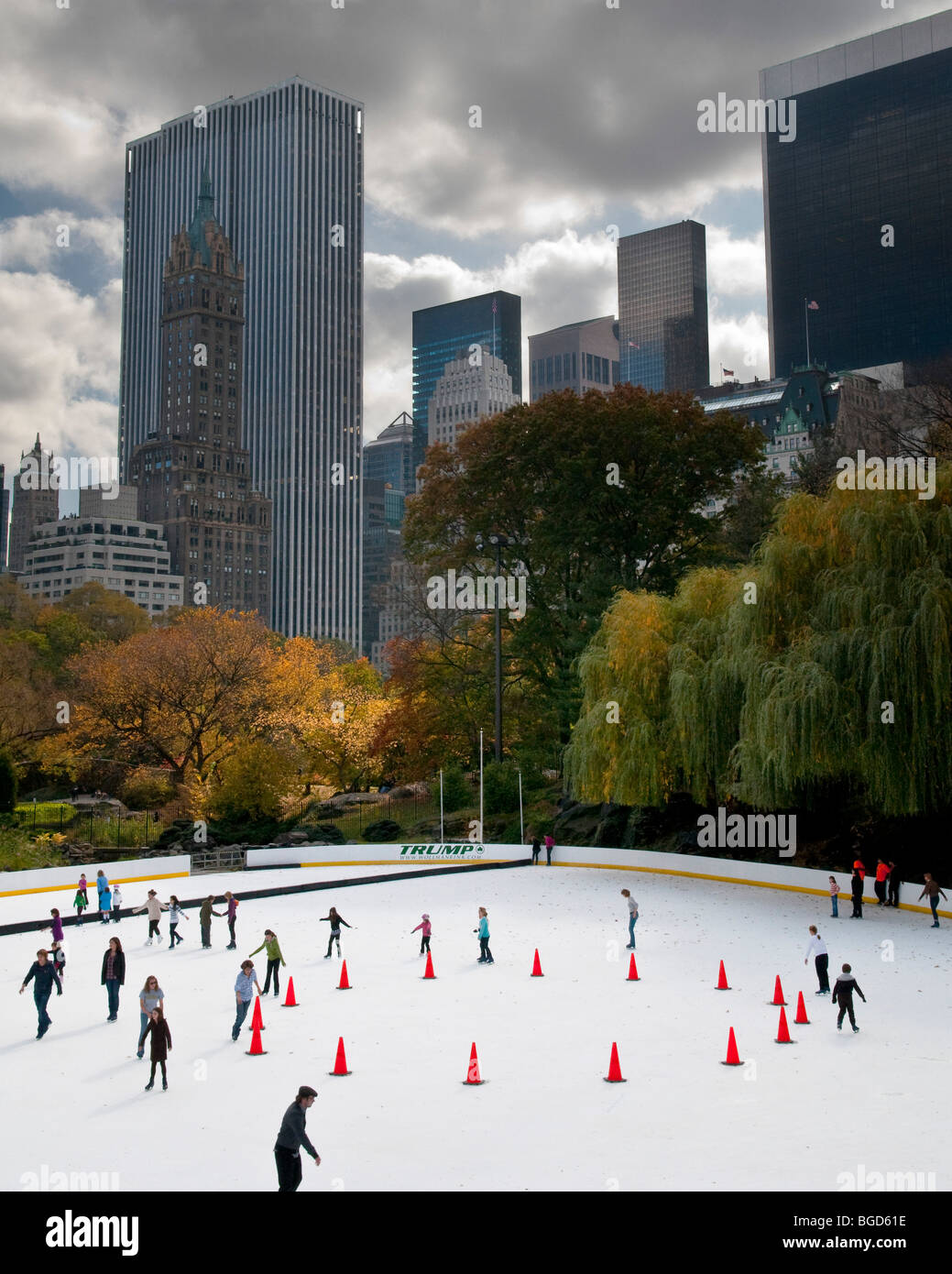Ice Skaters in Central Park, New York Stock Photo