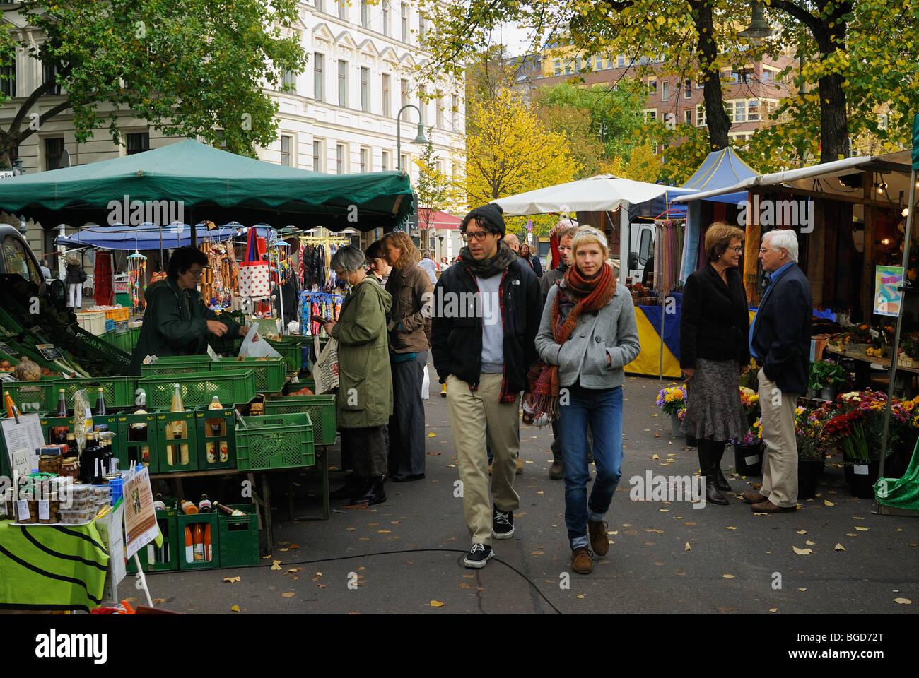 Berlin. Germany. Eco-market, market on Kollwitzplatz in Prenzlauer Berg district, Berlin, Germany, Europe. - Stock Image