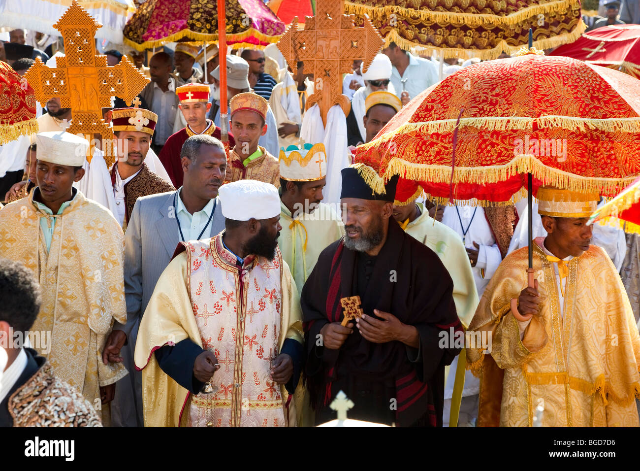 Priests carrying Ark of the Covenant replica's, procession of Timket (celebration of Epithany, Christian Orthodox - Stock Image