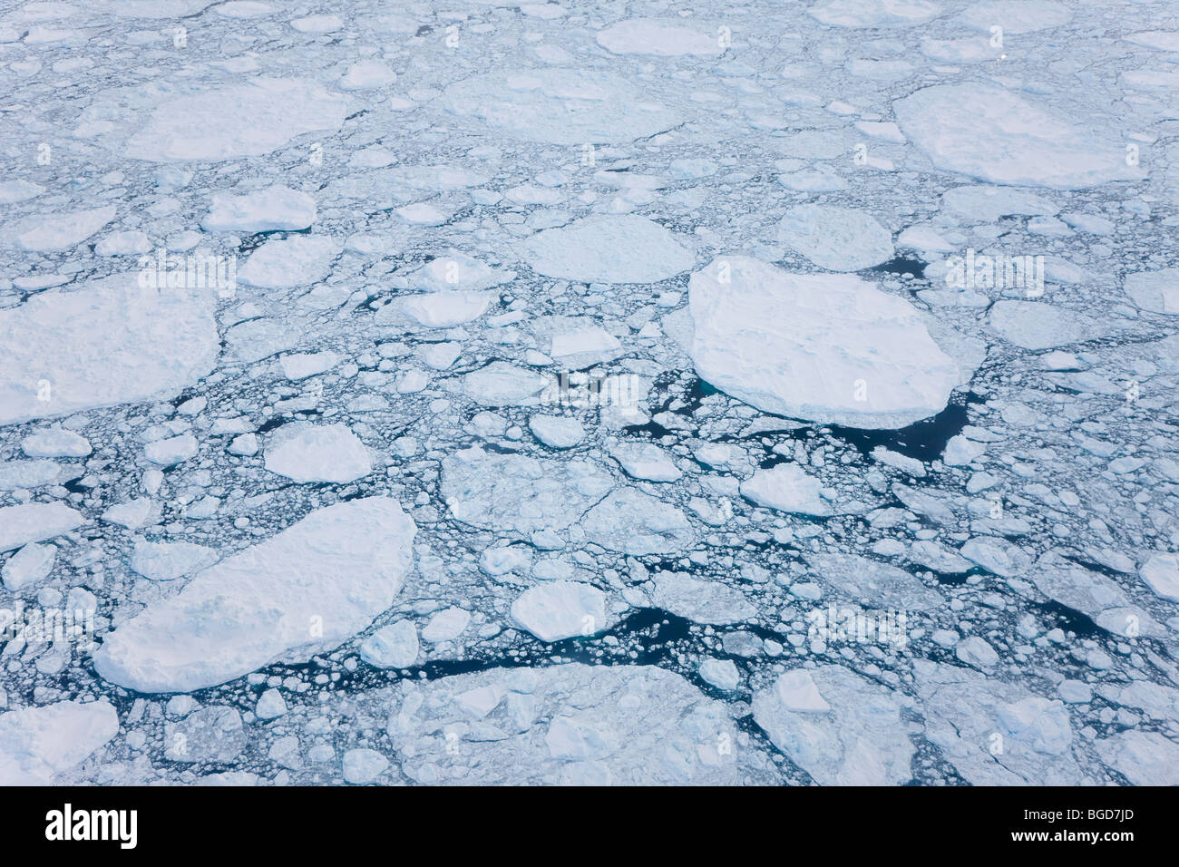 Aeriel view of sea ice, Kulusuk, E. Greenland - Stock Image