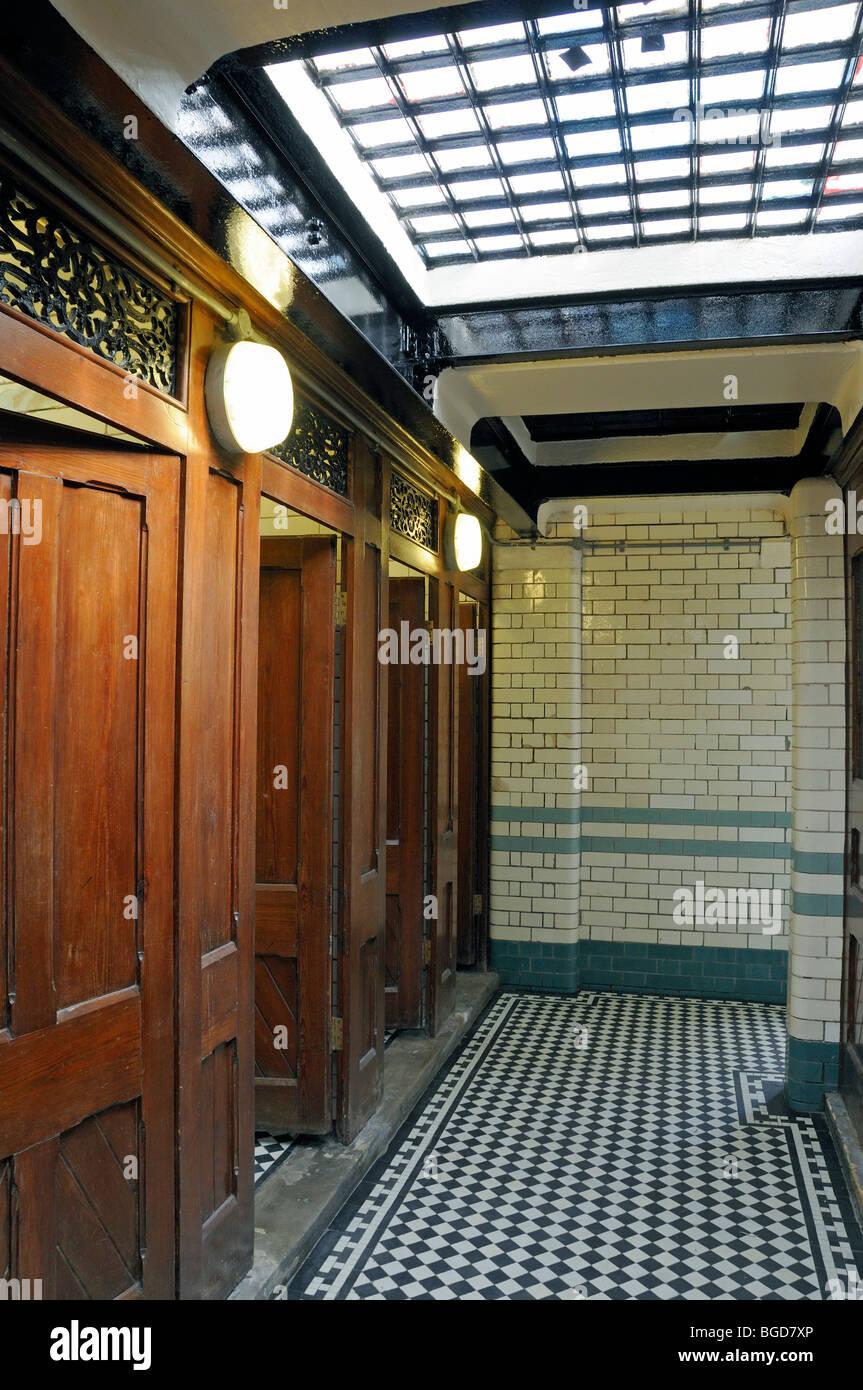 Interior underground public lavatory South End Green Hampstead London England UK - Stock Image