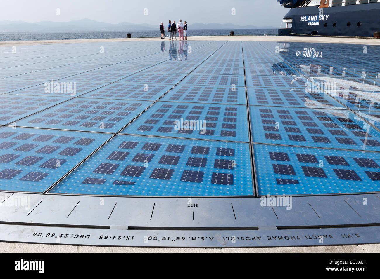The Greeting to the Sun, art work by Nikola Basic, Zadar, Dalmatia, Adriatic, Croatia, Europe - Stock Image
