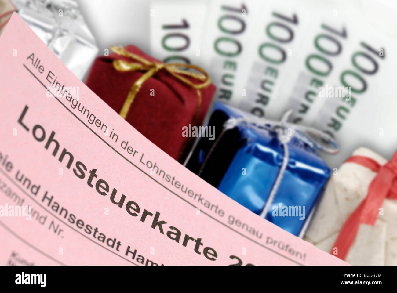 Tax card, gifts and banknotes, symbolic image of tax giveaways Stock Photo
