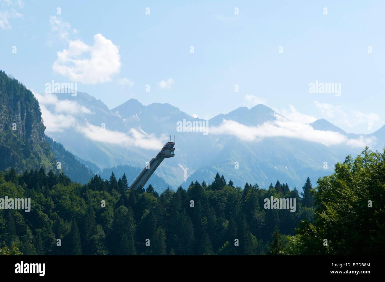 Heini-Klopfer-Skiflugschanze ski flying hill, Oberstdorf, Allgaeu, Bavaria, Germany, Europe - Stock Image