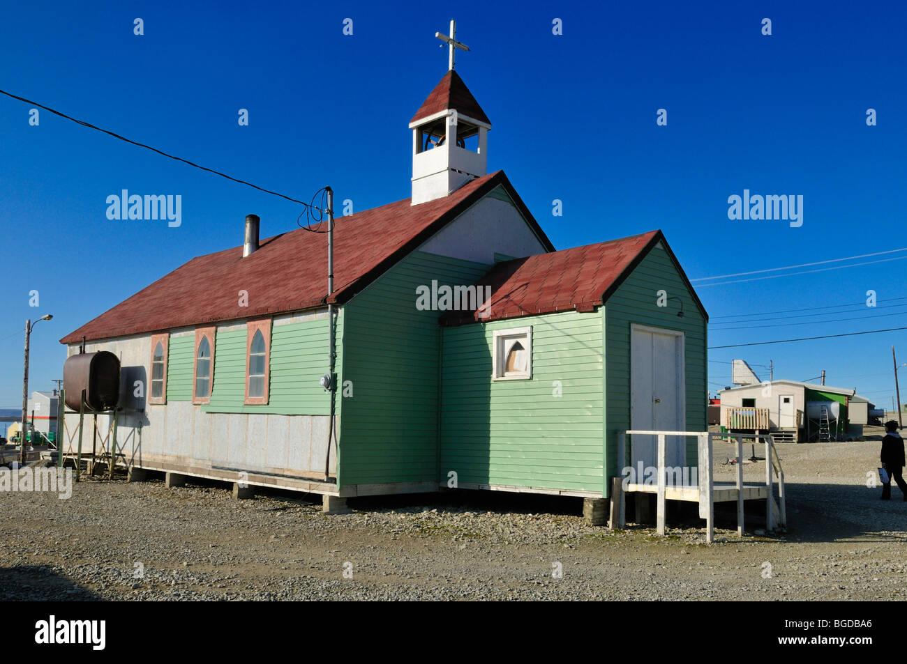 Church at Resolute Bay Inuit village, Cornwallis Island, Northwest Passage, Nunavut, Canada, Arctic - Stock Image