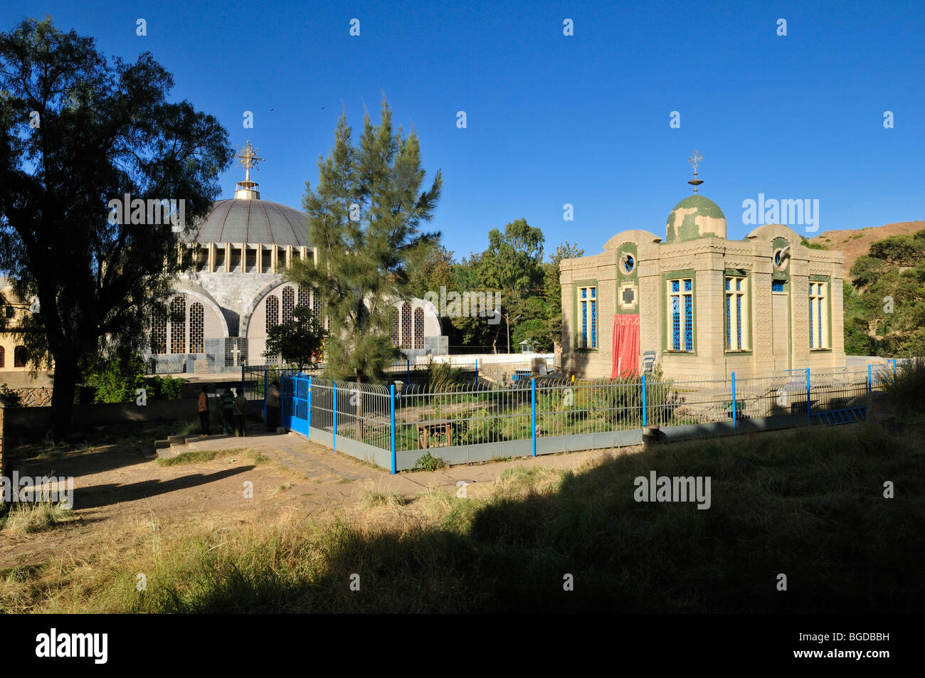 Saint Mary of Zion cathedral and Ark of the Covenant chapel of the Ethiopian orthodox church at Aksum, Axum, Tigray, - Stock Image