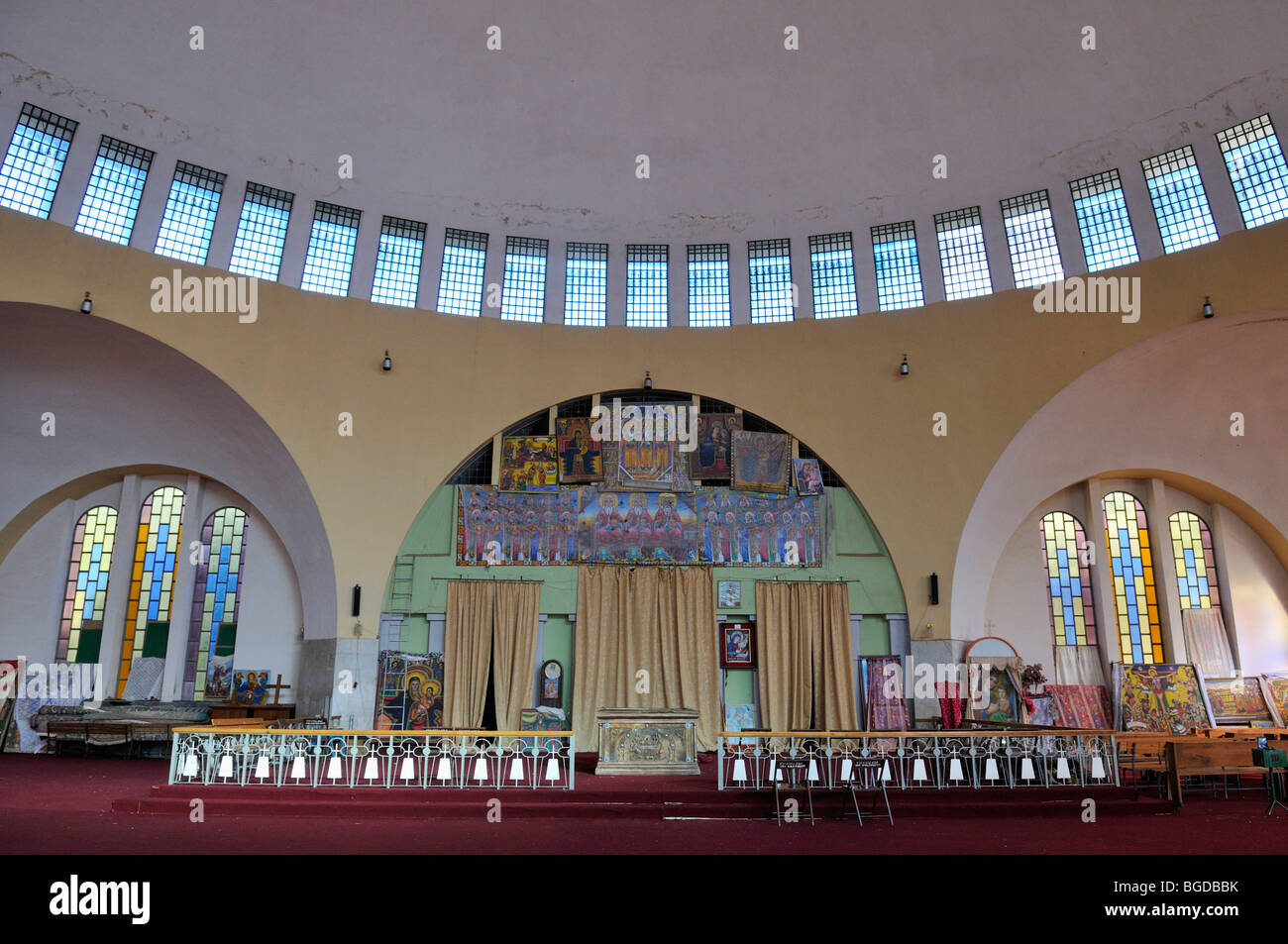 Interior of Saint Mary of Zion cathedral of the Ethiopian orthodox church at Aksum, Axum, Tigray, Ethiopia, Africa - Stock Image