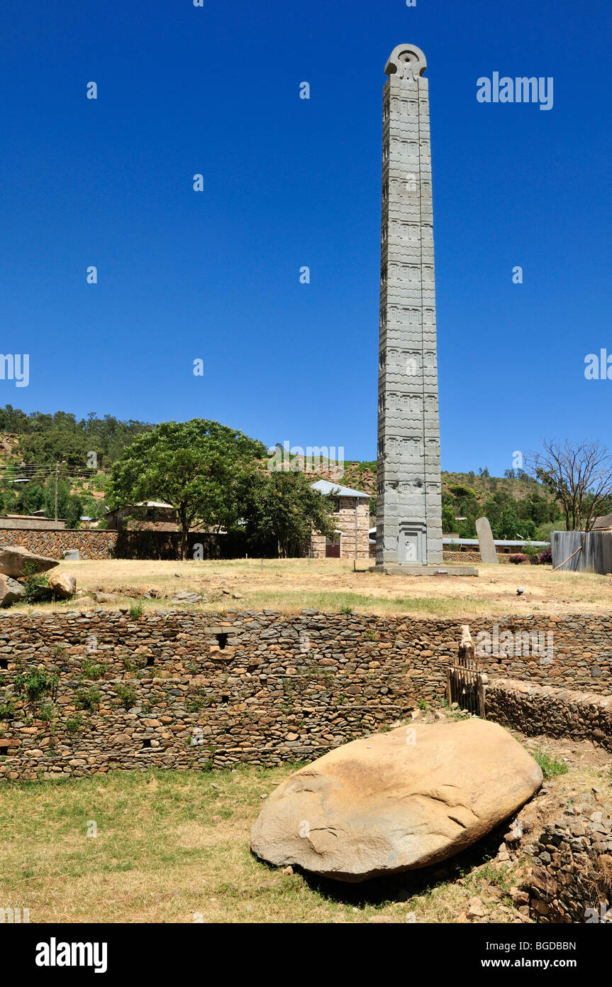 'Italian' ancient axumite stele at Aksum, Axum, UNESCO World Heritage Site, Tigray, Ethiopia, Africa - Stock Image