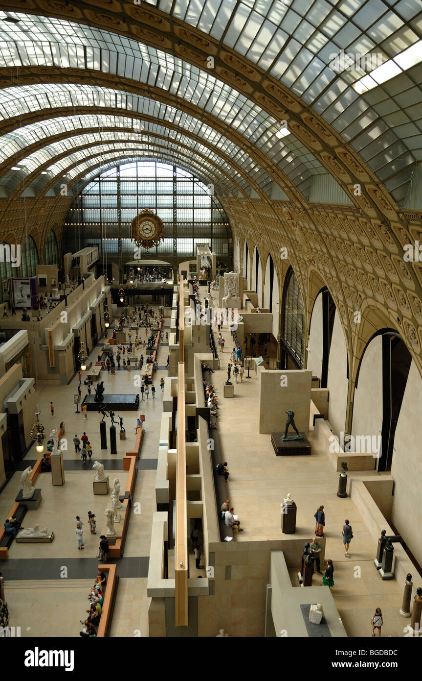 Main Galleries in Interior of Musée d'Orsay or Orsay Museum (a former Railway Station), Paris, France - Stock Image
