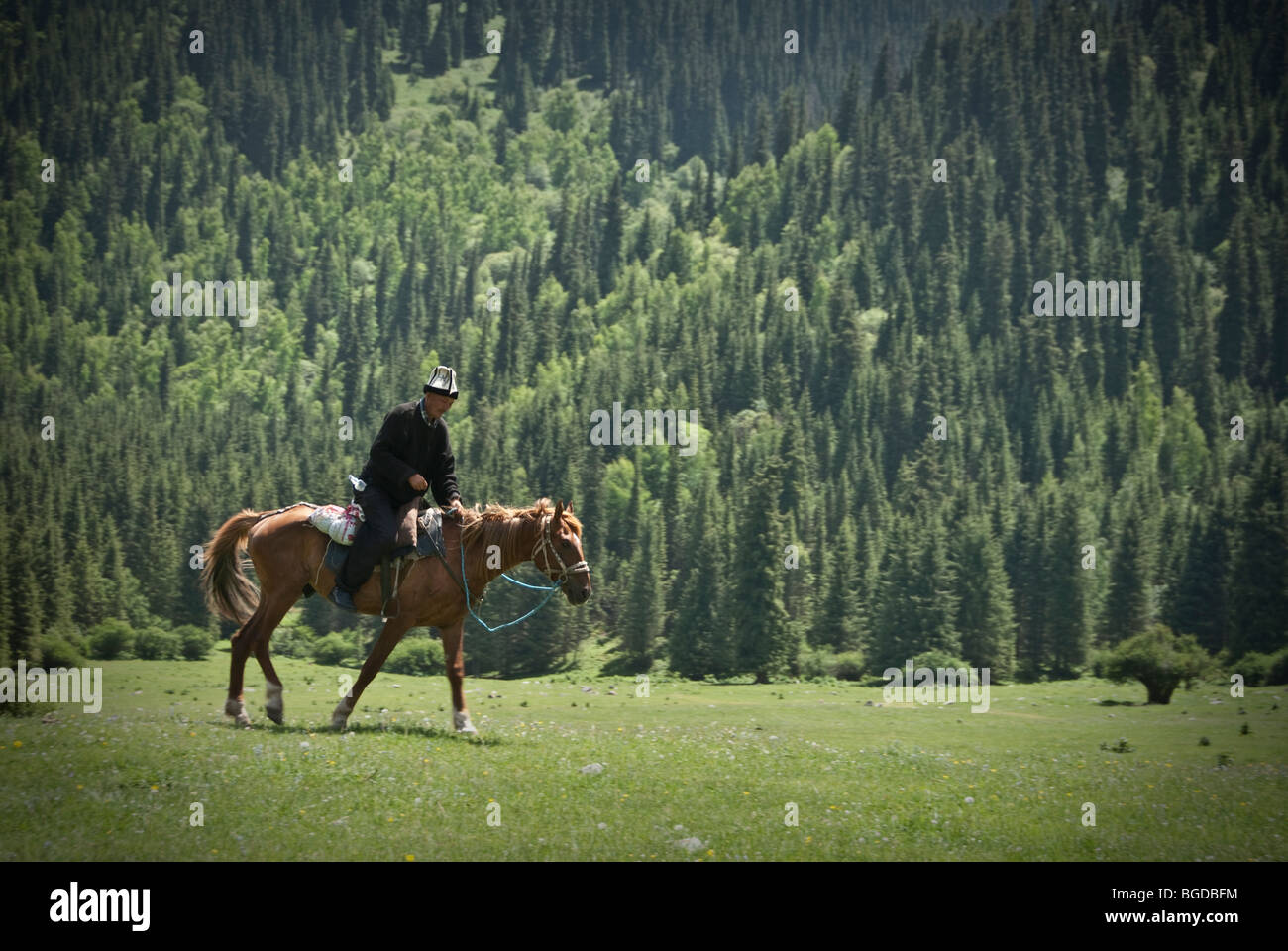Kyrgyz horse rider in the mountains of Karakol, Kyrgyzstan. Stock Photo