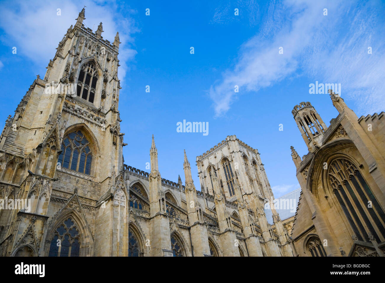 York Minster south face and St Michael le Belfrey Church, York, Yorkshire, England, United Kingdom, Europe - Stock Image