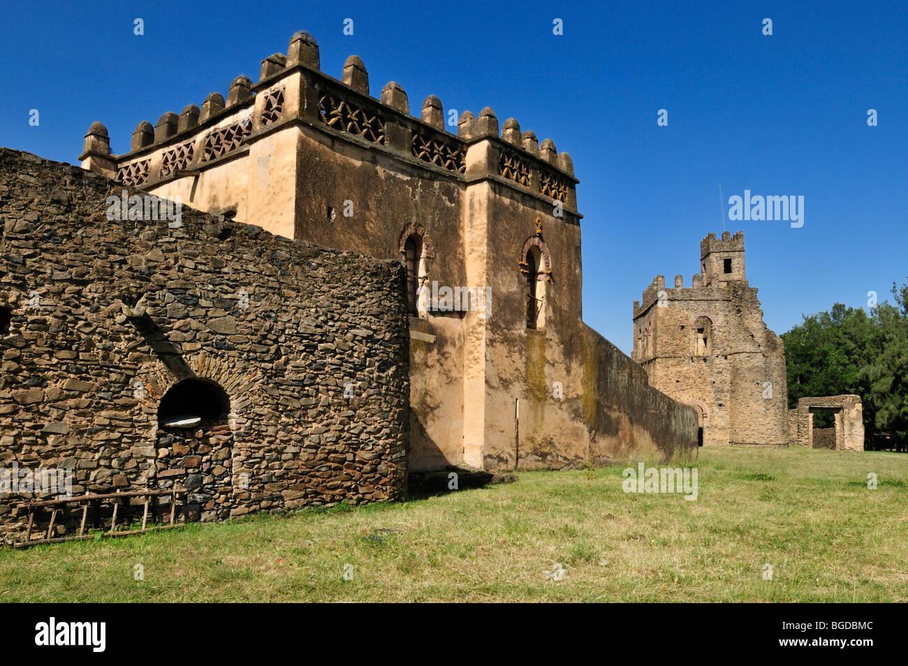 Library and Fasiladas Archive, Royal Enclosure Fasil Ghebbi, UNESCO World Heritage Site, Gonder, Gondar, Amhara, - Stock Image