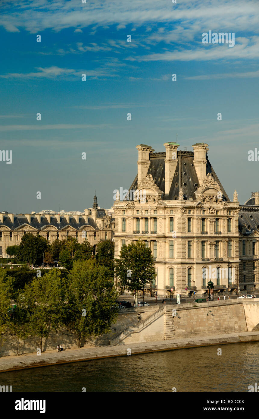 The Louvre Museum & River Seine from the Roof Terrace of the Quai d'Orsay Museum, Paris, France Stock Photo