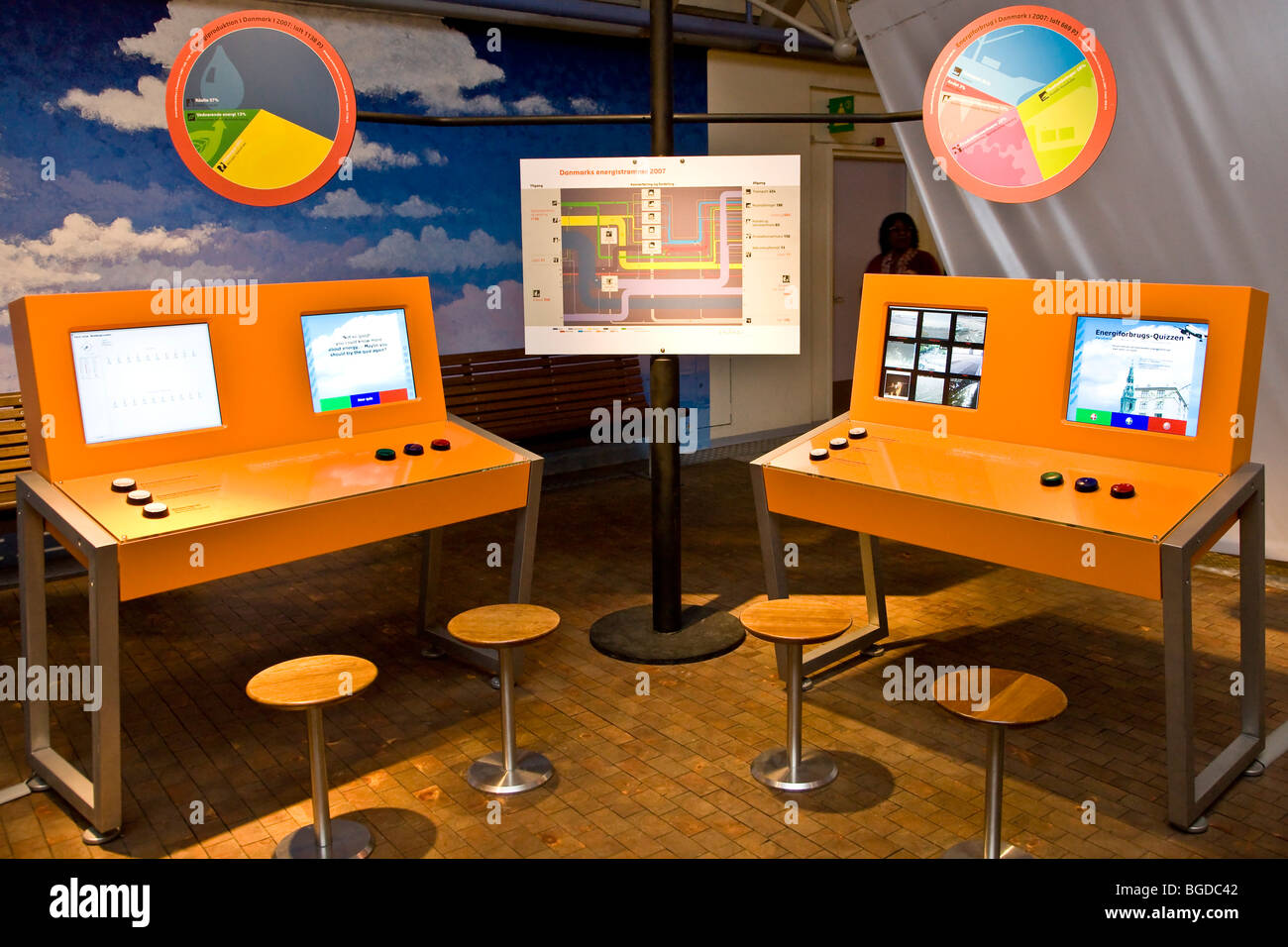 Computers for simulating the energy consumption, at the Experimentarium in Copenhagen, Denmark, Europe - Stock Image
