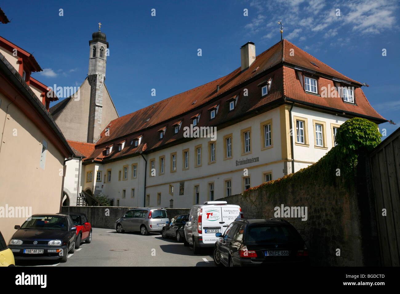 Burggasse lane and Kriminalmuseum crime museum, historic Rothenburg ob der Tauber, Bavaria, Germany, Europe - Stock Image